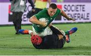 22 September 2019; Andrew Conway of Ireland goes over to score his side's fourth try despite the tackle of Grant Gilchrist of Scotland during the 2019 Rugby World Cup Pool A match between Ireland and Scotland at the International Stadium in Yokohama, Japan. Photo by Brendan Moran/Sportsfile