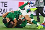 22 September 2019; Andrew Conway, right, is congratulated by his Ireland team-mates Conor Murray, top, and Jonathan Sexton, after scoring their side's fourth try during the 2019 Rugby World Cup Pool A match between Ireland and Scotland at the International Stadium in Yokohama, Japan. Photo by Brendan Moran/Sportsfile
