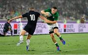 22 September 2019; Andrew Conway of Ireland beats the tackle of Finn Russell of Scotland on the way to scoring his side's fourth try during the 2019 Rugby World Cup Pool A match between Ireland and Scotland at the International Stadium in Yokohama, Japan. Photo by Brendan Moran/Sportsfile