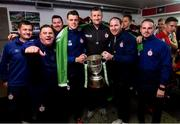 21 September 2019; Shelbourne manager Ian Morris and his backroom team with the SSE Airtricity League First Division cup following their SSE Airtricity League First Division match against Limerick FC at Tolka Park in Dublin. Photo by Stephen McCarthy/Sportsfile *** NO REPRODUCTION FEE ***