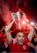 21 September 2019; Jaze Kabia of Shelbourne celebrates after being presented with the SSE Airtricity League First Division cup following their SSE Airtricity League First Division match against Limerick FC at Tolka Park in Dublin. Photo by Stephen McCarthy/Sportsfile