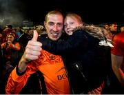 21 September 2019; Dean Delany of Shelbourne and his daughter Bella Rose following the SSE Airtricity League First Division match between Shelbourne and Limerick FC at Tolka Park in Dublin. Photo by Stephen McCarthy/Sportsfile