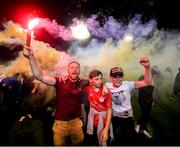 21 September 2019; Shelbourne supporters celebrate following the SSE Airtricity League First Division match between Shelbourne and Limerick FC at Tolka Park in Dublin. Photo by Stephen McCarthy/Sportsfile