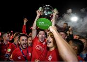 21 September 2019; Shelbourne players celebrate after being presented with the SSE Airtricity League First Division cup following their SSE Airtricity League First Division match against Limerick FC at Tolka Park in Dublin. Photo by Stephen McCarthy/Sportsfile
