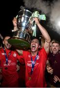 21 September 2019; Denzil Fernandez and his Shelbourne team-mates celebrate after being presented with the SSE Airtricity League First Division cup following their SSE Airtricity League First Division match against Limerick FC at Tolka Park in Dublin. Photo by Stephen McCarthy/Sportsfile