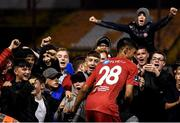 21 September 2019; Shelbourne supporters with Denzil Fernandez following during the SSE Airtricity League First Division match between Shelbourne and Limerick FC at Tolka Park in Dublin. Photo by Stephen McCarthy/Sportsfile