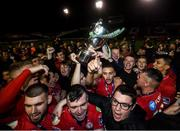 21 September 2019; Shelbourne players and supporters celebrate after being presented with the SSE Airtricity League First Division cup following their SSE Airtricity League First Division match against Limerick FC at Tolka Park in Dublin. Photo by Stephen McCarthy/Sportsfile
