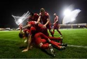 21 September 2019; Shelbourne players celebrate after Shane Farrell scored his side's third goal during the SSE Airtricity League First Division match between Shelbourne and Limerick FC at Tolka Park in Dublin. Photo by Stephen McCarthy/Sportsfile