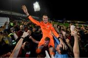 21 September 2019; Shelbourne goalkeeper Dean Delany celebrate with supporters following the SSE Airtricity League First Division match between Shelbourne and Limerick FC at Tolka Park in Dublin. Photo by Stephen McCarthy/Sportsfile