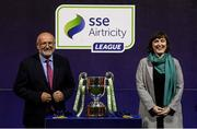 21 September 2019; Fran Gavin, FAI Director of Competitions, and Ruth Ryan, from SSE Airtricity, following the SSE Airtricity League First Division match between Shelbourne and Limerick FC at Tolka Park in Dublin. Photo by Stephen McCarthy/Sportsfile