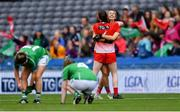 15 September 2019; Louth players Kate Flood, behind, and Michelle McMahon celebrate after the TG4 All-Ireland Ladies Football Junior Championship Final match between Fermanagh and Louth at Croke Park in Dublin. Photo by Piaras Ó Mídheach/Sportsfile