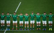 22 September 2019; Ireland players, from left, Dave Kilcoyne, Luke McGrath, Andrew Porter, Jordan Larmour, Andrew Conway, Josh Van der Flier, Tadhg Furlong, Peter O'Mahony and Conor Murray, ahead of the 2019 Rugby World Cup Pool A match between Ireland and Scotland at the International Stadium in Yokohama, Japan. Photo by Ramsey Cardy/Sportsfile