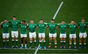 22 September 2019; Ireland players, from left, CJ Stander, James Ryan, Bundee Aki, Dave Kilcoyne, Garry Ringrose, Andrew Porter, Jordan Larmour, Andrew Conway and Josh Van der Flier, ahead of the 2019 Rugby World Cup Pool A match between Ireland and Scotland at the International Stadium in Yokohama, Japan. Photo by Ramsey Cardy/Sportsfile