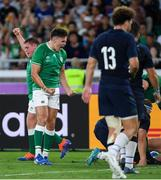 22 September 2019; Jacob Stockdale and Tadhg Furlong of Ireland celebrate a try by Rory Best during the 2019 Rugby World Cup Pool A match between Ireland and Scotland at the International Stadium in Yokohama, Japan. Photo by Ramsey Cardy/Sportsfile