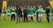 22 September 2019; Dejected Roslea Shamrocks players after the Fermanagh County Senior Club Football Championship Final match between Derrygonnelly Harps and Roslea Shamrocks at Brewster Park in Enniskillen, Fermanagh. Photo by Oliver McVeigh/Sportsfile