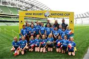 22 September 2019; Aviva Ireland gave 400 children the dream opportunity to take part in the Aviva Mini Nations Cup in Aviva Stadium on Sunday, September 22. 20 U10 boys' and U12 girls' teams from clubs nationwide took to the hallowed pitch after Ireland's heroic win over Scotland in Japan for their very own Mini Rugby Nations Cup. See aviva.ie/safetodream or @AvivaIreland social channels for details. Players from Galwegians RFC, Galway, representing France with Ireland and Ulster rugby player Jordi Murphy during the Aviva Mini Rugby Nations Cup at Aviva Stadium in Dublin. Photo by Eóin Noonan/Sportsfile