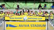 22 September 2019; Aviva Ireland gave 400 children the dream opportunity to take part in the Aviva Mini Nations Cup in Aviva Stadium on Sunday, September 22. 20 U10 boys' and U12 girls' teams from clubs nationwide took to the hallowed pitch after Ireland's heroic win over Scotland in Japan for their very own Mini Rugby Nations Cup. See aviva.ie/safetodream or @AvivaIreland social channels for details. Players from Virginia RFC, Cavan, representing South Africa lifting the cup following the Aviva Mini Rugby Nations Cup at Aviva Stadium in Dublin. Photo by Eóin Noonan/Sportsfile