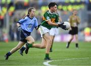 14 September 2019; Paddy Collins of Ilen Rovers, Co Cork, representing Kerry, in action against Laragh Gargan of Kilmacud Crokes, Co Dublin, during the INTO Cumann na mBunscol GAA Respect Exhibition Go Games at Dublin v Kerry - GAA Football All-Ireland Senior Championship Final Replay at Croke Park in Dublin. Photo by Piaras Ó Mídheach/Sportsfile