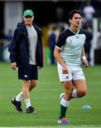 22 September 2019; Ireland head coach Joe Schmidt with Joey Carbery during the warm-up prior to the 2019 Rugby World Cup Pool A match between Ireland and Scotland at the International Stadium in Yokohama, Japan. Photo by Brendan Moran/Sportsfile