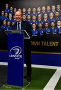 23 September 2019; The Ken Wall Centre of Excellence will be formally opened by Minister for Sport Shane Ross, T.D. and Leinster Rugby CEO Mick Dawson today. The Ken Wall Centre of Excellence was built by Extraspace Solutions and it took 11 months to build. It was fully functional from 1st July 2019 when the doors were opened for the first time to this season's age grade male and female players. The Centre is 606 sq. metres in total and is fully operational with a gym (210 sq. metres), two meeting rooms, a large open plan office with space for 20 staff, two dressing rooms and showers, a medical room and a kitchen. The Centre, which cost €1.5m to build, was funded by the Department of Sport's Capital Funds Programme, the IRFU and by private investment, and will be home to the Leinster Rugby Sub-Academy as well as the Leinster Age Grade programme. Also in attendance at the launch were members of the Wall family, who made a significant contribution to the development of the Centre and have dedicated the Centre to the memory of their late father, Ken. Pictured is Minister for Transport, Tourism and Sport Shane Ross T.D., speaking at The Ken Wall Centre of Excellence, Donnybrook, Dublin. Photo by Seb Daly/Sportsfile