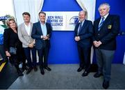 23 September 2019; The Ken Wall Centre of Excellence will be formally opened by Minister for Sport Shane Ross, T.D. and Leinster Rugby CEO Mick Dawson today. The Ken Wall Centre of Excellence was built by Extraspace Solutions and it took 11 months to build. It was fully functional from 1st July 2019 when the doors were opened for the first time to this season's age grade male and female players. The Centre is 606 sq. metres in total and is fully operational with a gym (210 sq. metres), two meeting rooms, a large open plan office with space for 20 staff, two dressing rooms and showers, a medical room and a kitchen. The Centre, which cost €1.5m to build, was funded by the Department of Sport's Capital Funds Programme, the IRFU and by private investment, and will be home to the Leinster Rugby Sub-Academy as well as the Leinster Age Grade programme. Also in attendance at the launch were members of the Wall family, who made a significant contribution to the development of the Centre and have dedicated the Centre to the memory of their late father, Ken. Pictured are, from left, Rosie, David and Niall Wall, with Minister for Transport, Tourism and Sport Shane Ross T.D., and Robert Deacon, Leinster Rugby President, at The Ken Wall Centre of Excellence, Donnybrook, Dublin. Photo by Seb Daly/Sportsfile