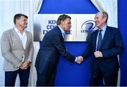 23 September 2019; The Ken Wall Centre of Excellence will be formally opened by Minister for Sport Shane Ross, T.D. and Leinster Rugby CEO Mick Dawson today. The Ken Wall Centre of Excellence was built by Extraspace Solutions and it took 11 months to build. It was fully functional from 1st July 2019 when the doors were opened for the first time to this season's age grade male and female players. The Centre is 606 sq. metres in total and is fully operational with a gym (210 sq. metres), two meeting rooms, a large open plan office with space for 20 staff, two dressing rooms and showers, a medical room and a kitchen. The Centre, which cost €1.5m to build, was funded by the Department of Sport's Capital Funds Programme, the IRFU and by private investment, and will be home to the Leinster Rugby Sub-Academy as well as the Leinster Age Grade programme. Also in attendance at the launch were members of the Wall family, who made a significant contribution to the development of the Centre and have dedicated the Centre to the memory of their late father, Ken. Pictured is Minister for Transport, Tourism and Sport Shane Ross T.D., right, with Niall Wall, centre, and David Wall, at The Ken Wall Centre of Excellence, Donnybrook, Dublin. Photo by Seb Daly/Sportsfile