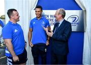 23 September 2019; The Ken Wall Centre of Excellence will be formally opened by Minister for Sport Shane Ross, T.D. and Leinster Rugby CEO Mick Dawson today. The Ken Wall Centre of Excellence was built by Extraspace Solutions and it took 11 months to build. It was fully functional from 1st July 2019 when the doors were opened for the first time to this season's age grade male and female players. The Centre is 606 sq. metres in total and is fully operational with a gym (210 sq. metres), two meeting rooms, a large open plan office with space for 20 staff, two dressing rooms and showers, a medical room and a kitchen. The Centre, which cost €1.5m to build, was funded by the Department of Sport's Capital Funds Programme, the IRFU and by private investment, and will be home to the Leinster Rugby Sub-Academy as well as the Leinster Age Grade programme. Also in attendance at the launch were members of the Wall family, who made a significant contribution to the development of the Centre and have dedicated the Centre to the memory of their late father, Ken. Pictured is Minister for Transport, Tourism and Sport Shane Ross T.D., right, with Leinster Rugby players Ed Byrne, left, and Adam Byrne, at The Ken Wall Centre of Excellence, Donnybrook, Dublin. Photo by Seb Daly/Sportsfile