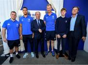 23 September 2019; The Ken Wall Centre of Excellence will be formally opened by Minister for Sport Shane Ross, T.D. and Leinster Rugby CEO Mick Dawson today. The Ken Wall Centre of Excellence was built by Extraspace Solutions and it took 11 months to build. It was fully functional from 1st July 2019 when the doors were opened for the first time to this season's age grade male and female players. The Centre is 606 sq. metres in total and is fully operational with a gym (210 sq. metres), two meeting rooms, a large open plan office with space for 20 staff, two dressing rooms and showers, a medical room and a kitchen. The Centre, which cost €1.5m to build, was funded by the Department of Sport's Capital Funds Programme, the IRFU and by private investment, and will be home to the Leinster Rugby Sub-Academy as well as the Leinster Age Grade programme. Also in attendance at the launch were members of the Wall family, who made a significant contribution to the development of the Centre and have dedicated the Centre to the memory of their late father, Ken. Pictured are, from left, Leinster Rugby players Ed Byrne, Adam Byrne, Minister for Transport, Tourism and Sport Shane Ross T.D., Leinster head coach Leo Cullen and members of the Wall family, at The Ken Wall Centre of Excellence, Donnybrook, Dublin. Photo by Seb Daly/Sportsfile