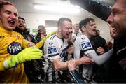 23 September 2019; Dundalk players, from left, Gary Rogers, Michael Duffy, Seán Gannon and Brian Gartland celebrate winning the SSE Airtricity League Premier Division following their match against Shamrock Rovers at Oriel Park in Dundalk, Co Louth. Photo by Stephen McCarthy/Sportsfile