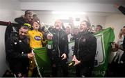 23 September 2019; Dundalk players, including Robbie Benson, Gary Rogers, Aaron McCarey and assistant head coach Ruaidhri Higgins celebrate winning the SSE Airtricity League Premier Division following their match against Shamrock Rovers at Oriel Park in Dundalk, Co Louth. Photo by Stephen McCarthy/Sportsfile