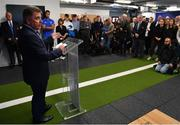 23 September 2019; The Ken Wall Centre of Excellence will be formally opened by Minister for Sport Shane Ross, T.D. and Leinster Rugby CEO Mick Dawson today. The Ken Wall Centre of Excellence was built by Extraspace Solutions and it took 11 months to build. It was fully functional from 1st July 2019 when the doors were opened for the first time to this season's age grade male and female players. The Centre is 606 sq. metres in total and is fully operational with a gym (210 sq. metres), two meeting rooms, a large open plan office with space for 20 staff, two dressing rooms and showers, a medical room and a kitchen. The Centre, which cost €1.5m to build, was funded by the Department of Sport's Capital Funds Programme, the IRFU and by private investment, and will be home to the Leinster Rugby Sub-Academy as well as the Leinster Age Grade programme. Also in attendance at the launch were members of the Wall family, who made a significant contribution to the development of the Centre and have dedicated the Centre to the memory of their late father, Ken. Pictured is Michael Dawson, Leinster Rugby CEO, speaking at The Ken Wall Centre of Excellence, Donnybrook, Dublin. Photo by Seb Daly/Sportsfile