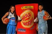 18 September 2019; Carly McLendon of Maree, left, and Meredith Burkhall of DCU Mercy pictured at the 2019/2020 Basketball Ireland Season Launch and Hula Hoops National Cup draw at the National Basketball Arena in Tallaght, Dublin. Photo by David Fitzgerald/Sportsfile
