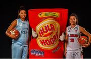18 September 2019; Meredith Burkhall of DCU Mercy, left, and Alyssa Velles of IT Carlow pictured at the 2019/2020 Basketball Ireland Season Launch and Hula Hoops National Cup draw at the National Basketball Arena in Tallaght, Dublin. Photo by David Fitzgerald/Sportsfile