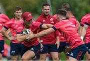 24 September 2019; Tyler Bleyendaal is tackled by team-mate Jack Stafford during a Munster Rugby Squad Training session at University of Limerick in Limerick. Photo by Matt Browne/Sportsfile