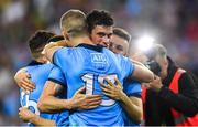 14 September 2019; Dublin players, from left, Paul Mannion, Diarmuid Connolly, and Eoin Murchan celebrate after the GAA Football All-Ireland Senior Championship Final Replay between Dublin and Kerry at Croke Park in Dublin. Photo by Piaras Ó Mídheach/Sportsfile