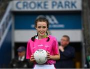15 September 2019; Niamh McMorrow, from Trim, Co Meath, presents the match ball ahead of the TG4 All-Ireland Ladies Football Senior Championship Final match between Dublin and Galway at Croke Park in Dublin. Photo by Ramsey Cardy/Sportsfile