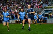 15 September 2019; Sinéad Aherne, left, and Ciara Trant of Dublin ahead of the TG4 All-Ireland Ladies Football Senior Championship Final match between Dublin and Galway at Croke Park in Dublin. Photo by Ramsey Cardy/Sportsfile