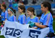 15 September 2019; Flagbearers during the TG4 All-Ireland Ladies Football Senior Championship Final match between Dublin and Galway at Croke Park in Dublin. Photo by Ramsey Cardy/Sportsfile