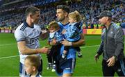 14 September 2019; Stephen Cluxton of Dublin and his nephew Patrick, with team-mate Bernard Brogan and his sons Keadán, left, and Donagh, alongside Dublin manager Jim Gavin after the GAA Football All-Ireland Senior Championship Final Replay between Dublin and Kerry at Croke Park in Dublin. Photo by Piaras Ó Mídheach/Sportsfile