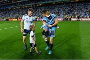 14 September 2019; Stephen Cluxton of Dublin and his nephew Patrick, with team-mate Bernard Brogan and his sons Keadán, left, and Donagh, after the GAA Football All-Ireland Senior Championship Final Replay between Dublin and Kerry at Croke Park in Dublin. Photo by Piaras Ó Mídheach/Sportsfile