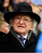 15 September 2019; President of Ireland Michael D Higgins during the TG4 All-Ireland Ladies Football Senior Championship Final match between Dublin and Galway at Croke Park in Dublin. Photo by Ramsey Cardy/Sportsfile