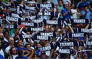 21 September 2019; France supporters during the 2019 Rugby World Cup Pool C match between France and Argentina at the Tokyo Stadium in Chofu, Japan. Photo by Brendan Moran/Sportsfile