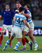 21 September 2019; Louis Picamoles of France and Matías Moroni of Argentina get involved after the final whistle of the 2019 Rugby World Cup Pool C match between France and Argentina at the Tokyo Stadium in Chofu, Japan. Photo by Brendan Moran/Sportsfile