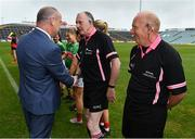 6 July 2019; Liam McDonagh, President of the Connacht Council, LGFA, meets Referee John Niland prior to the 2019 TG4 Connacht Ladies Senior Football Final replay between Galway and Mayo at the LIT Gaelic Grounds in Limerick. Photo by Brendan Moran/Sportsfile