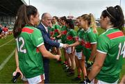 6 July 2019; Liam McDonagh, President of the Connacht Council, LGFA, meets Sarah Rowe of Mayo prior to the 2019 TG4 Connacht Ladies Senior Football Final replay between Galway and Mayo at the LIT Gaelic Grounds in Limerick. Photo by Brendan Moran/Sportsfile