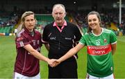 6 July 2019; Referee John Niland with team captains Tracey Leonard of Galway, left, and Niamh Kelly of Mayo during the 2019 TG4 Connacht Ladies Senior Football Final replay between Galway and Mayo at the LIT Gaelic Grounds in Limerick. Photo by Brendan Moran/Sportsfile
