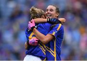 15 September 2019; Tipperary players Samantha Lambert, left, and Caitlín Kennedy celebrate after the TG4 All-Ireland Ladies Football Intermediate Championship Final match between Meath and Tipperary at Croke Park in Dublin. Photo by Piaras Ó Mídheach/Sportsfile
