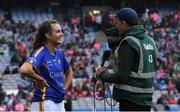 15 September 2019; Caitlín Kennedy of Tipperary is interviewed by Jerome Quinn after the TG4 All-Ireland Ladies Football Intermediate Championship Final match between Meath and Tipperary at Croke Park in Dublin. Photo by Piaras Ó Mídheach/Sportsfile