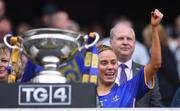 15 September 2019; Tipperary captain Samantha Lambert before lifting the Mary Quinn Memorial Cup after the TG4 All-Ireland Ladies Football Intermediate Championship Final match between Meath and Tipperary at Croke Park in Dublin. Photo by Piaras Ó Mídheach/Sportsfile