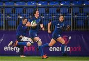 21 September 2019; Hannah O'Connor of Leinster on her way to scoring a try for her side during the Women's Interprovincial Championship Final match between Leinster and Connacht at Energia Park in Donnybrook, Dublin. Photo by Eóin Noonan/Sportsfile